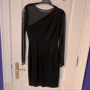 Black cocktail dress with sheer detailing